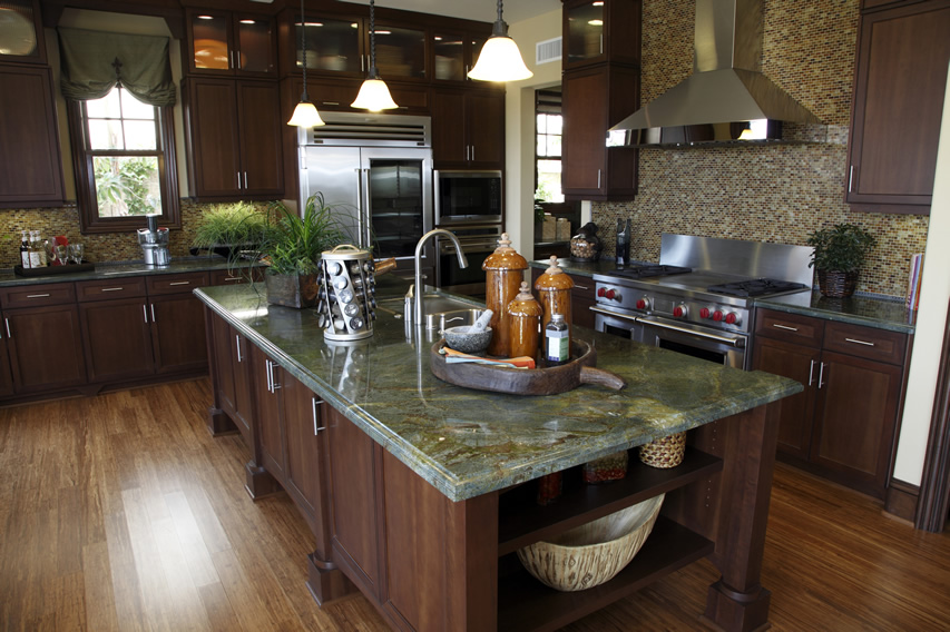 green granite at the kitchen