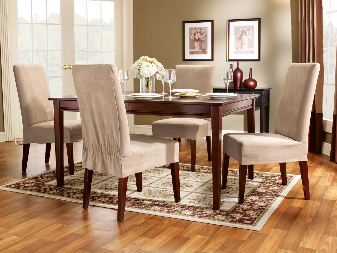 One of the great dining room chair seat covers you may get is classic covers with simple design