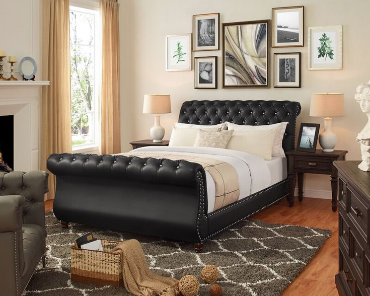 Elegant Leather Sleigh Bed
