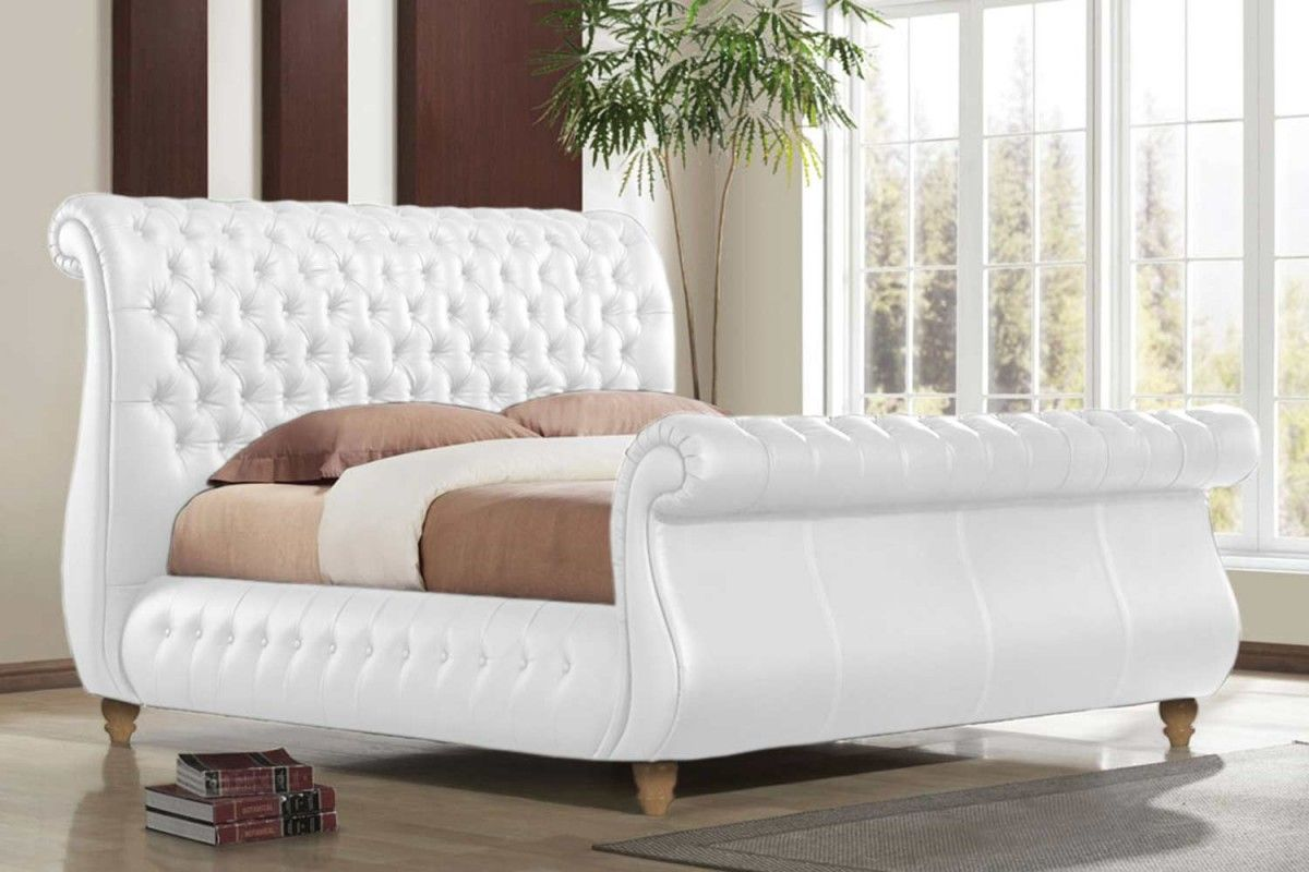 White Tufted sleigh bed