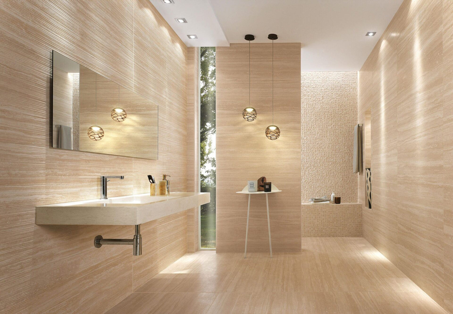 ceramic for the floor and wall design for bathroom