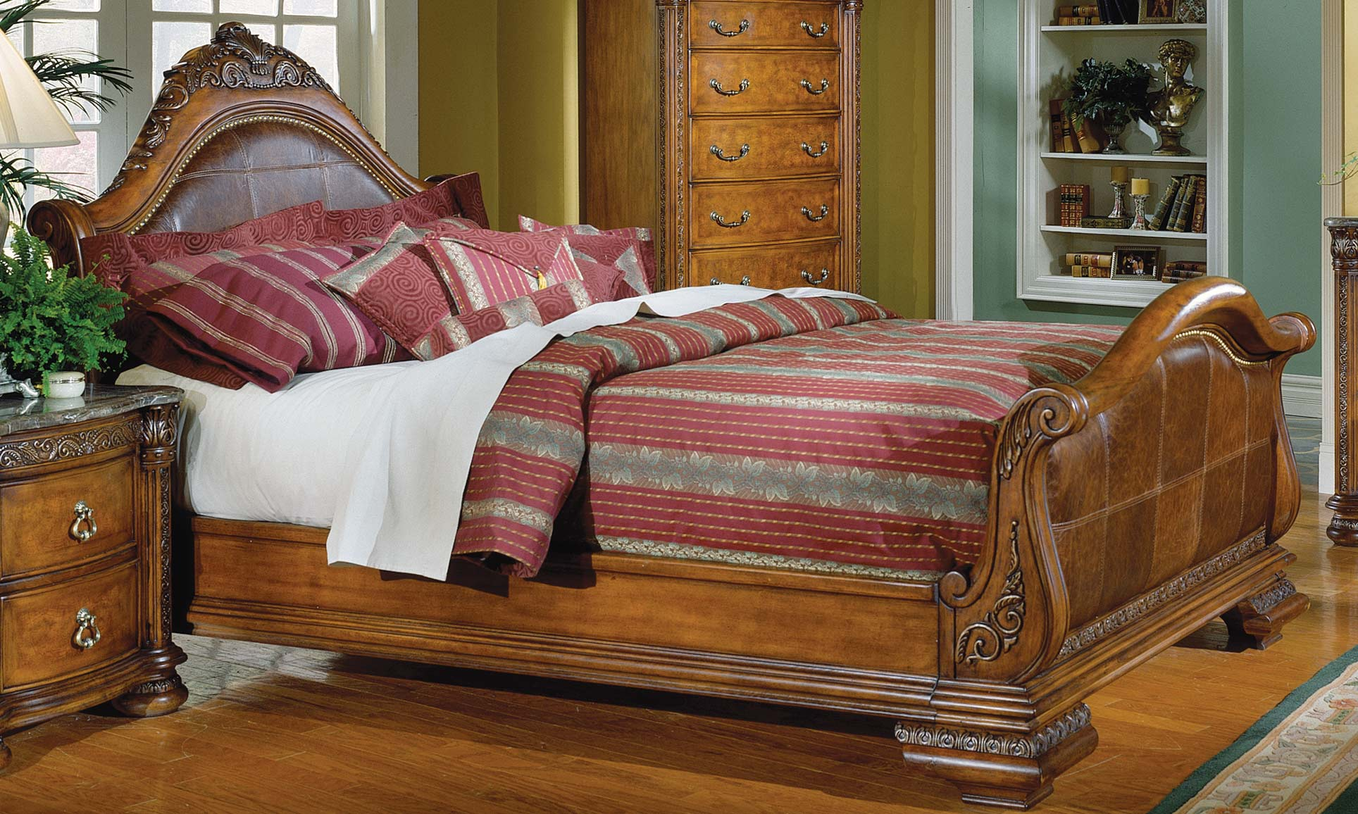 full size sleigh bed with leather