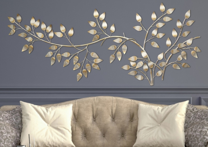 home interior with metal wall decoration such as Autumn Leaves Plaque