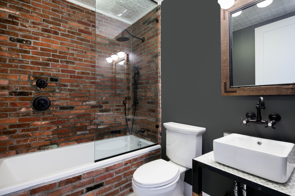 The red brick wall bathroom