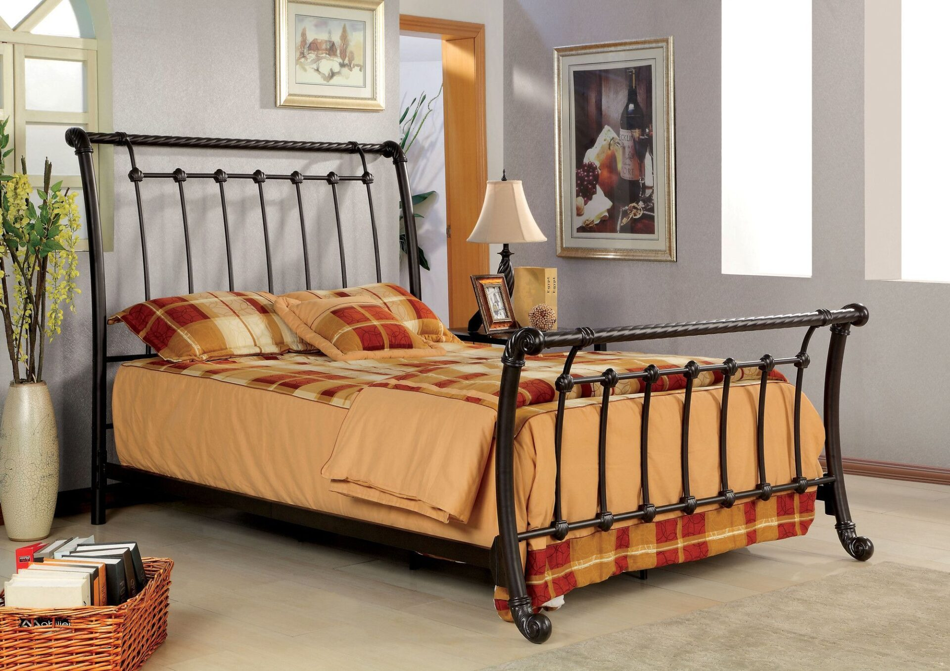 sleigh bed frame made from steel