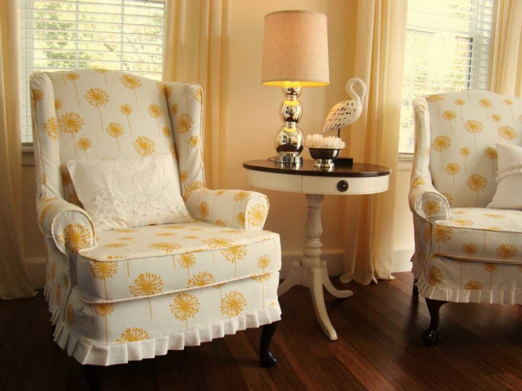 Wingback Chair Slipcover with small flower pattern