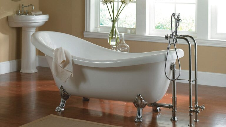 bath with claw foot tub