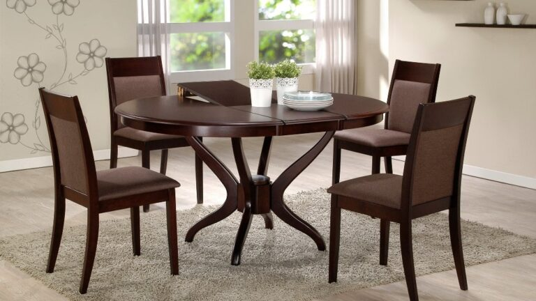 Dark Expandable Dining Room Table