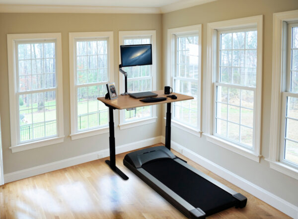 Working While Doing Sport Using Treadmill Desk